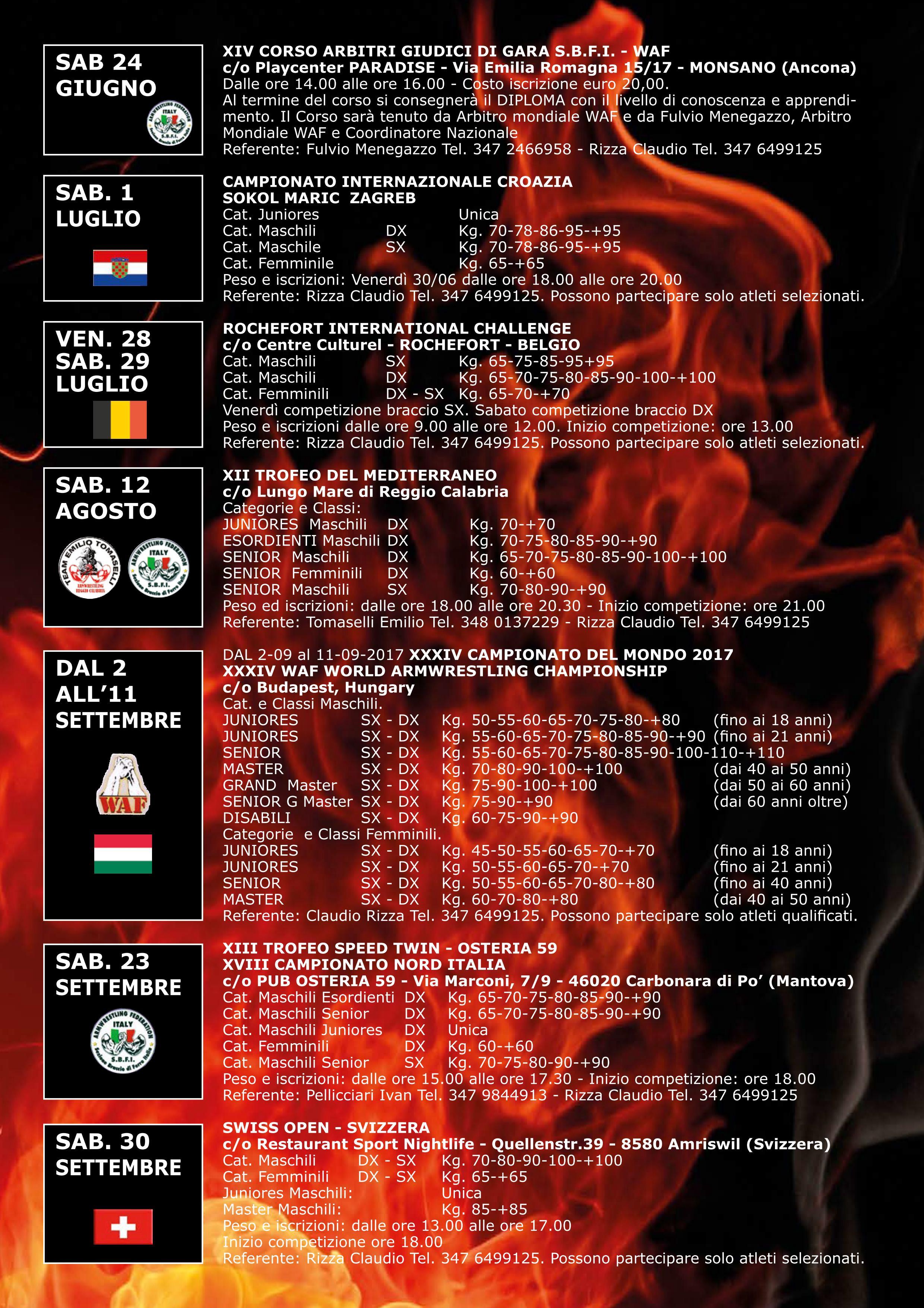 Atleti Calendario.Calendario Nazionale 2017 Braccio Di Ferro Italia