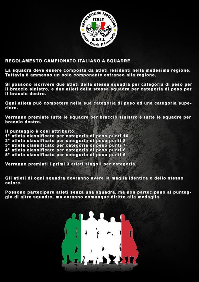 SBFI - Sezione braccio di ferro Italia - Campionato italiano a squadre 2019