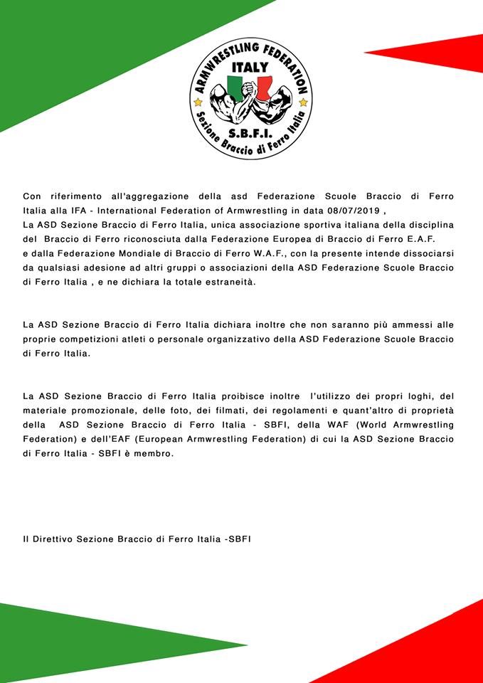 SBFI - Sezione Braccio di Ferro Italia - Comunicato Luglio 2019
