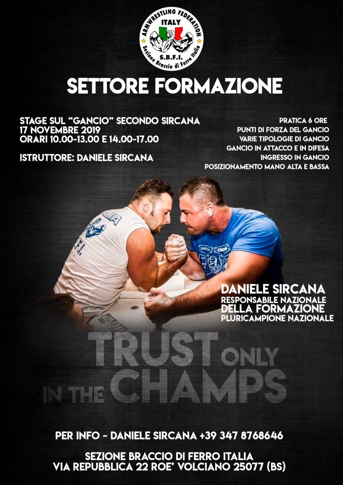 SBFI - Sezione Braccio di Ferro Italia - Stage gancio 17 Novembre 2019