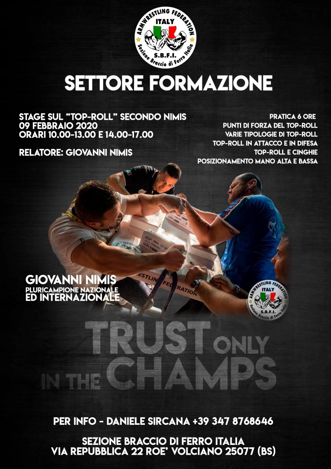 SBFI - Sezione Braccio di Ferro Italia - Stage Top Roll secondo Giovanni Nimis