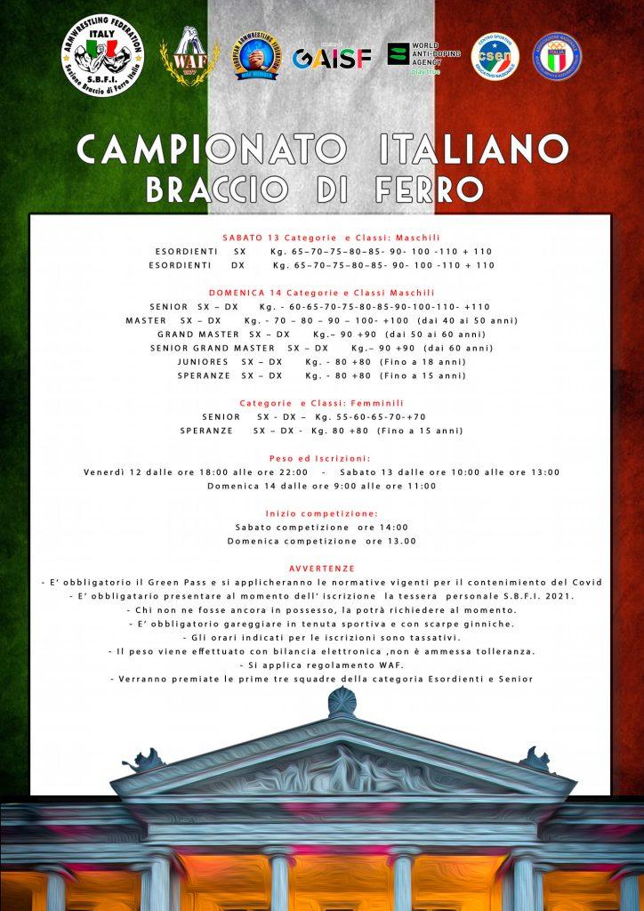 SBFI - Sezione Braccio di Ferro Italia - Campionato Italiano 2021